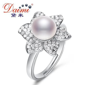 New Trendy Flower Ring 7-8mm White Freshwater Pearl Ring 925 Sterling Silver Ring Gift For Women Fine Jewelry