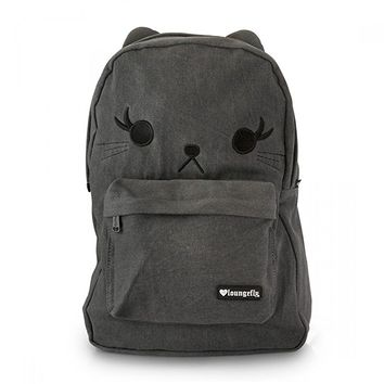Black Denim Cat Backpack