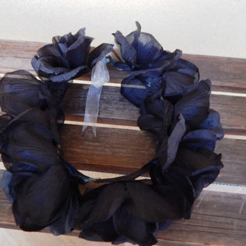 Black Roses Wire Flower Crown - Adjustable