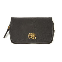 Small Black Faux Leather Wallet with Elephant Detail