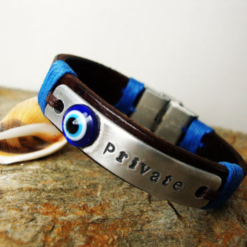 FREE SHIPPING. Unisex Leather Bracelet.Unisex Gift, Evil Eye Personalized Bracelet.Valentine Gift. Hand press Aluminum plate. Friends Gifts
