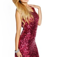 Cranberry Pink Sequins Wide Strap Textured Party Dress