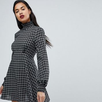 Fashion Union High Neck Skater Dress In Check With Shirred Collar And Cuffs at asos.com