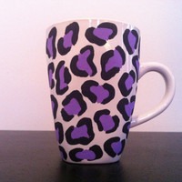 Purple leopard coffee cup