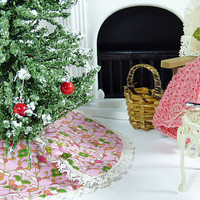 Dollhouse Christmas Tree Skirt 1:12 Miniature Scale Hand Made Victorian Holiday Decoration Pink Dolls and Bears Santa Accessory Fairy Garden