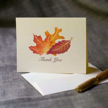 Thank you Note cards for Fall or Autumn - Weddings, holidays, gifts - Bring the rich colors of fall with artisan painted watercolor leaves