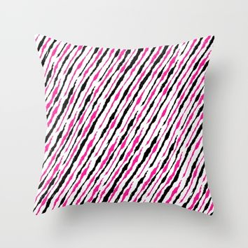 Pink and Black Pattern Throw Pillow by Starflyer Art