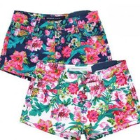 Retro Floral Printed Denim Shorts for Women