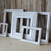 Set of 5 Distressed Gray Shabby Chic Wood Frames