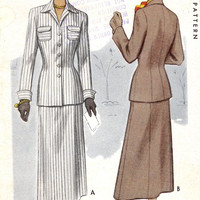 1940s womens suit Vintage sewing pattern McCalls 7609 Jacket and slim skirt Uncut pattern