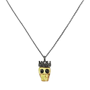 0.97tcw Diamonds in 925 Sterling Silver Crowned Bone Skull Pendant Necklace