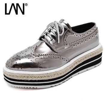 Fashion Spring Women Flats Lace Up Vintage Genuine Leather Women Loafers Autumn Creepe