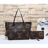 """LV"" Louis Vuitton Women's wild large-capacity printed zipper shoulder bag shopping bag 3#"