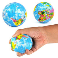 Earth Globe Stress Relief Bouncy Foam Ball Kids World Atlas Geography Map