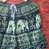 Shorts elephants Boho Printed fabric Hipster Beach men wear fashion Clothes Ethnic Bohemian Clothing Spring wear gift for him in green