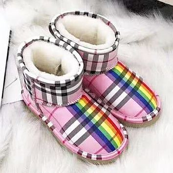 2485cb84b UGG & Burberry Winter Fashion New Rainbow Plaid Keep Warm High Quality Snow  Boots Shoes Women