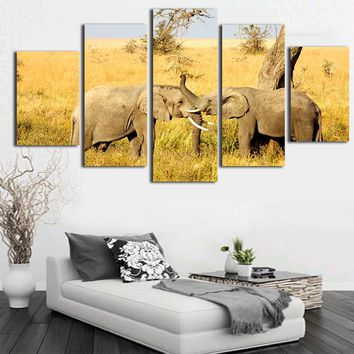 Africa Elephant Canvas Painting Calligraphy Wall Pictures