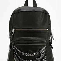 Ash Domino Chain Leather Backpack - Black One