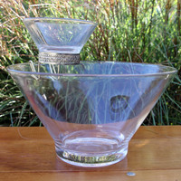 Vintage Glass Chip and Dip Bowls with Brass Dip Bowl Hanger