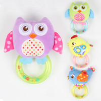 Cartoon Owl Bird Speelgoed Baby Toys Soft Plush BB Kids Toys Animals Hand Bells Rattles Newborn Toddlers Stuffed Toy Ring Bell