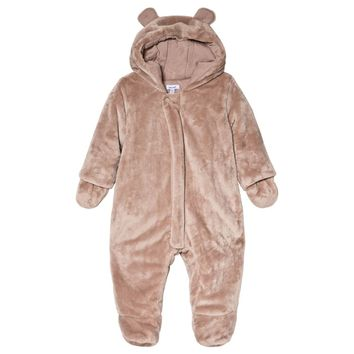 Absorba Taupe Faux Fur Hooded Pramsuit with Ears | AlexandAlexa