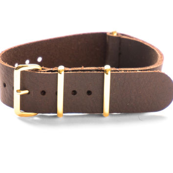 GOLD LEATHER NATO STRAP DARK BROWN VINTAGE
