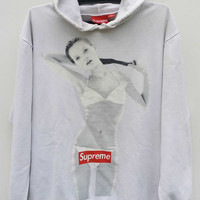 Rare Vintage distressed Supreme x Kate Moss Box Logo 10th Anniversary Supreme New York 1994 - 2004 Hoodie Made In Canada Sweater Hip Hop
