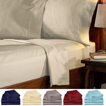 4 Piece Bed Sheets Set Full Checkered - Hotel Quality Deep Pocket 1800 Series Bed Sheet Set