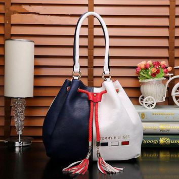 """Tommy Hilfiger""Women Trending Fashion Multicolor Tassel Drawstring Bucket Bag Women Handbag Big Single Shoulder Bag G"