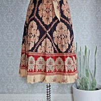 Vintage 70's Hand Blocked + Bohemian Wrap Skirt