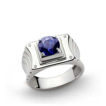 925 K Sterling Silver Men's Ring with 2.40 ct Sapphire and 0.02 ct Diamonds