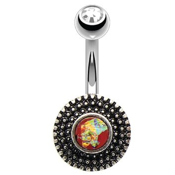 BodyJ4You Belly Button Ring Round Vintage Victorian Red Orange Opal Stainless Steel 14G Body Piercing Jewelry