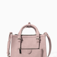 Nude-Pink Mini City Bag with Zippers
