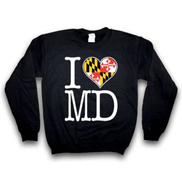 I Heart Maryland Flag / Crew Sweatshirt