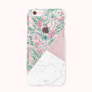 Clear iPhone 6 Case, iPhone 6s Case, iPhone 6 Plus Case, iPhone 6s plus Case, iPhone 5S Case, iPhone SE, Galaxy Case - Tropical Marble pink