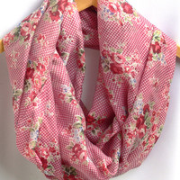 Floral Infinity Scarf. Pink Circle Scarf. Tube Scarf. Women Accessory.