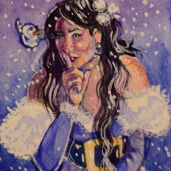 It's a Secret: ooak original ACEO watercolor painting of Christmas girl with secret smile and white snow bird