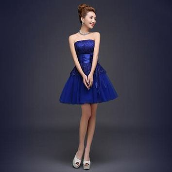 2017 new arrival royal blue short prom dress for women elegant sweetheart sexy four style for choose formal gown in stock
