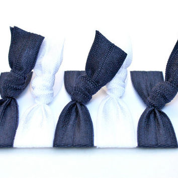 5 Athletic Hair Ties - Navy Blue & White Scrunchies - Girls Sports Hair Bands - Elastic Ribbon Hair Ties - Preppy Hair Ties by Preppy Pieces
