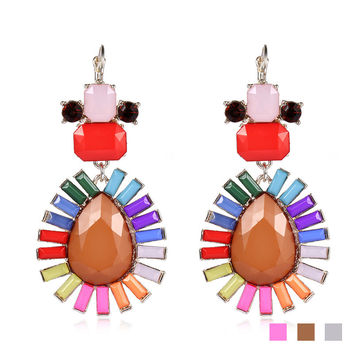Alloy Diamonds Multi-color Resin Bohemia Water Droplets Earrings [6047561537]