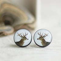 Deer Posts, Forest Deer Studs, Winter Stud Earrings, Tiny Earrings