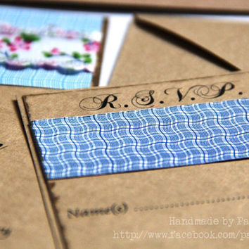 Rustic  Eco Friendly Wedding Invitation - Custom Personalized - Pocket Invitation, Response Card Sample