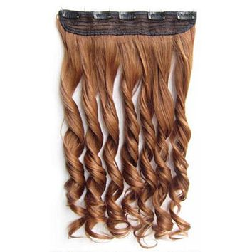 """24"""" 60cm Long Colorful Straight Hair  5 Clips hair extenstion Curly Solid Color"""