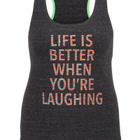 Plus Size - Life Is Better When You're Laughing Tank - Gray
