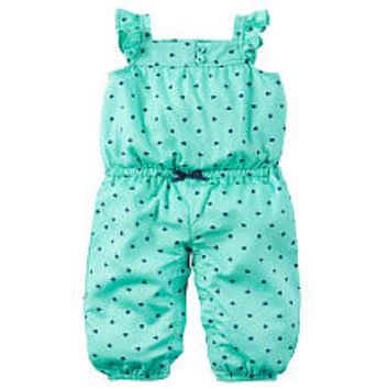 Carter's Green Allover Polka Dot Printed Romper