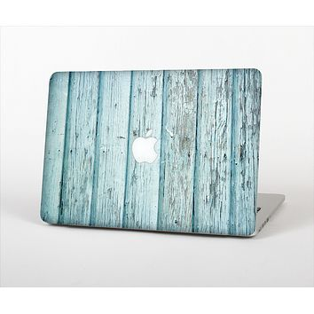 The Subtle Blue Vertical Aged Wood Skin Set for the Apple MacBook Pro 15""