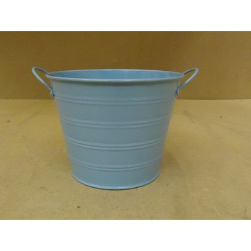 Designer Bucket Decorative 7in Diameter x 5 1/2in H Blue Country Metal -- New