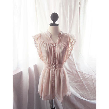 Elven Victorian Blush Dusty Baby Pink Great Gatsby Breakfast at Tiffany's Marie Antoinette Jane Austen Faerie Dress y Long Tunic Blouse Top
