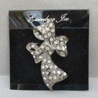 Vintage 1970's Signed EISENBERG Ice Rhinestone BOW Pin, MINT On Card!