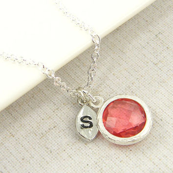 Personalized Coral Silver Necklace, Coral Pendant Drop Faceted Necklace with Initial Letter Alphabet Charm Bridesmaid Bridal Wedding Jewelry